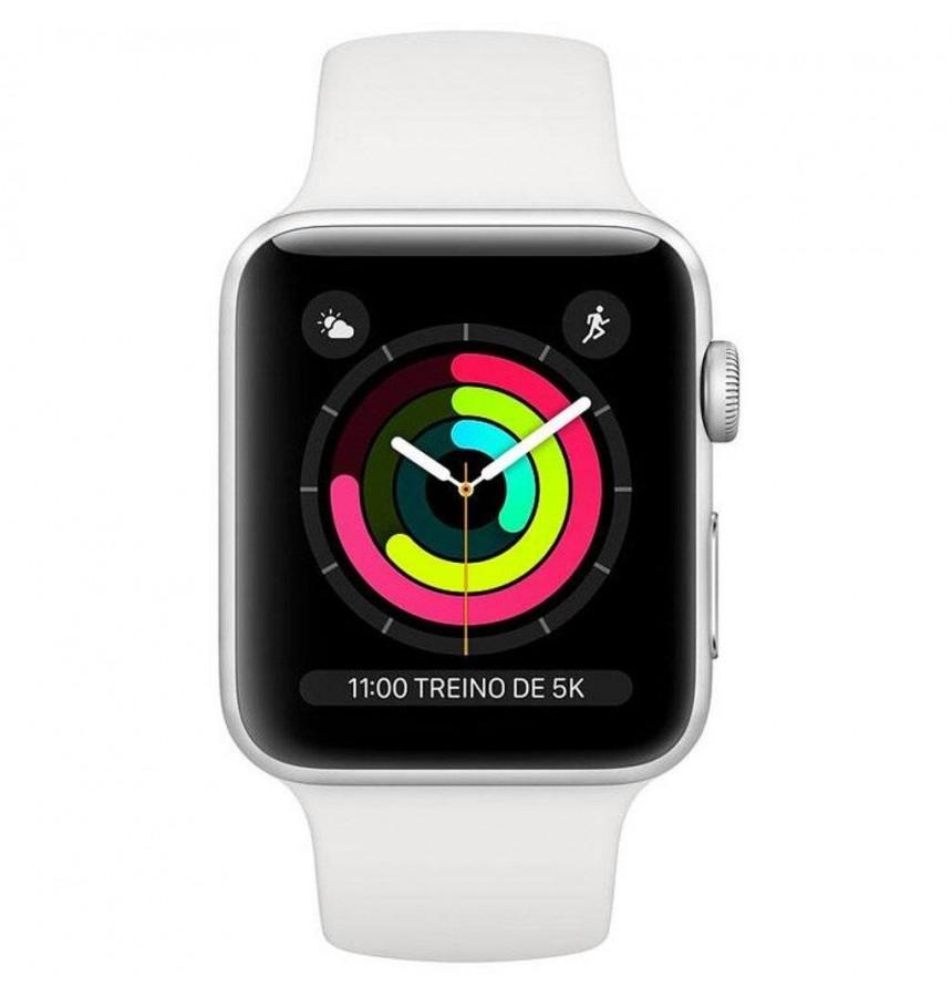 Apple Watch Series 3, 42 mm, Pulseira Esportiva Branca e Fecho Clássico